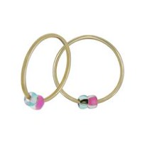 Aurelle 10KT Yellow Gold 10 mm Hoops with Pink/Blue Beads