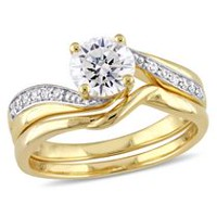Miabella 2.10 Carat T.G.W Cubic Zirconia Yellow Rhodium-Plated Sterling Silver Bypass Bridal Set 7