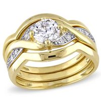 Miabella 1.50 Carat T.G.W Cubic Zirconia Yellow Rhodium-Plated Sterling Silver Bridal Set 6