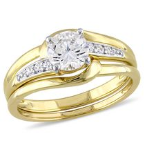 Miabella 1.60 Carat T.G.W Cubic Zirconia Yellow Rhodium-Plated Sterling Silver Bridal Set 9
