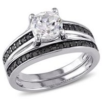 1.38 Carat T.G.W. Created White Sapphire and 0.33 Carat T.W. Black Diamond Sterling Silver Bridal Set 7