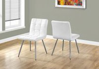 "Monarch Specialties Leather-Chrome 32"" Dining Chair - White, Set of 2"