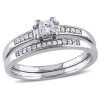 Miabella 0.33 Carat T.W. Princess, Baguette and Round-Cut Diamond 14 K White Gold Bridal Set 5.5