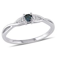 0.14 Carat T.W. Blue and White Diamond 10 K White Gold Cross-Over Promise Ring 6