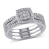 Miabella 0.33 Carat T.W. Diamond 10 K White Gold Halo Bridal Set 6.5