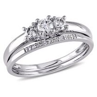 Miabella 0.33 Carat T.W. Diamond 10 K White Gold Three Stone Bridal Set 6.5