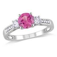 Tangelo 1.38 Carat T.G.W. Created Pink and White Sapphire and Diamond-Accent 10 K White Gold Three-Stone Ring 7