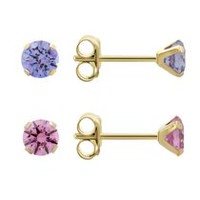 Aurelle 10KT Yellow Gold Round Pink & Cubic Zirconia Amythest Round Earrings