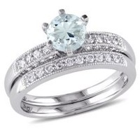 Ensemble nuptial Tangelo avec algue-marine 0,75 ct PBT et diamants 0,33 ct poids total en or blanc 10 k 9