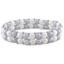 "6-7mm White and Grey Cultured Freshwater Pearl Brass Double 7"" Row Stretch Bracelet"