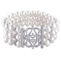 "6.5-7mm White Freshwater Pearl and 2 Carat T.G.W. Cubic Zirconia Sterling Silver 7"" Three-Row Pearl Bracelet"