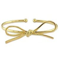 "Yellow Rhodium-Plated Sterling Silver 7"" Bow Bangle Bracelet"