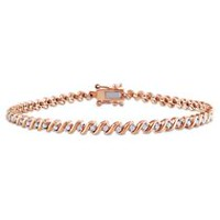 "Miabella 0.50 Carat T.W. Diamond Rose Rhodium-Plated Sterling 7.5"" Silver Tennis Bracelet"