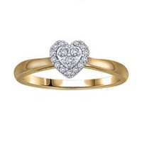 0.09Ct T.W. Diamond Heart Shaped Engagement Ring in 10K Yellow Gold