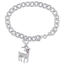 Tangelo Created Ruby-Accent and Black Diamond-Accent Sterling Silver 7.5-inch Reindeer Charm Bracelet
