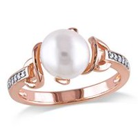 Miabella 8-8.5mm Cultured Freshwater Pearl and Diamond-Accent Rose Rhodium-Plated Sterling Silver Cocktail Ring 6