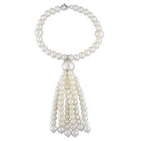 Miabella 4.5-11mm White Round Cultured Freshwater Pearl Sterling Silver 7.5-inch Tassel Bracelet