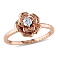 Miabella 0.14 Carat T.W. Diamond 10 K Rose Gold Flower Ring 7