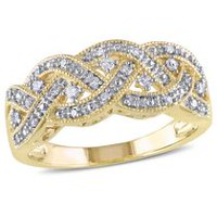 Miabella 0.13 Carat T.W. Diamond Yellow Rhodium-Plated Sterling Silver Braided Ring 5