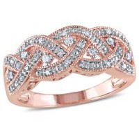 Miabella 0.13 Carat T.W. Diamond Rose Rhodium-Plated Sterling Silver Braided Ring 7