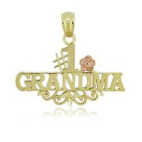 Women's 10Kt Tri Colour Gold Cut Number One Grandma Charm