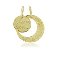 Women's 10Kt Yellow Gold Love You To The Moon & Back Dual Charm