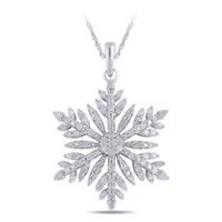 "0.45 Ct T.W. Diamond Snowflake Pendant in Sterling Silver with 18"" Chain"