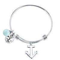 Stainless Steel Love This Life Anchor Bangle