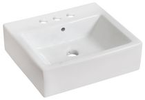 American Imaginations 20 inch width x 18 inch depth Above Counter Rectangle Vessel In White Color For 4-in. o.c. Faucet