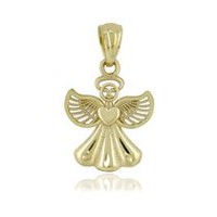 Women's 10Kt Yellow Gold High Polished Beaded Filigree Puffed Angel with Halo Charm