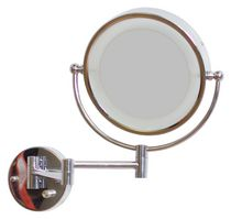 American Imaginations 8.5 inch width Round LED Mirror With Light Dimmer And Dual 1x/5x Zoom