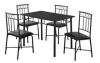 Monarch Specialties Black Metal Dining Set Black