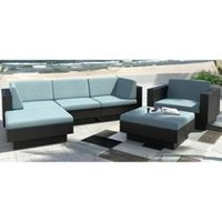 CorLiving PPT-345-Z Park Terrace Textured Black Weave Double Armrest Sectional Patio Set
