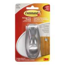 Command™ Brushed Nickel Timeless Large Hook