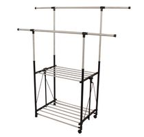 Greenway Stainless Steel Collapsible Double-Bar Garment Rack