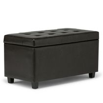 WyndenHall Essex Medium Rectangular Storage Ottoman Bench Dark Brown