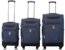 Champs Travelers Collection Softside Spinner Luggage Case Set of 3 Navy