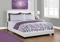Monarch Specialties Leather-Look White Bed Frame