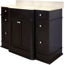 American Imaginations 50 inch width x 22 inch depth Traditional Birch Wood-Veneer Vanity Set In Dark Mahogany