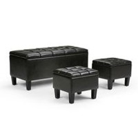 WyndenHall Lancaster 3 piece Rectangular Storage Ottoman Bench Brown
