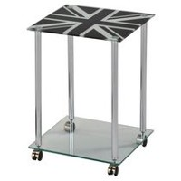 Worldwide Homefurnishings British Flag Painted Glass and Chrome Accent Table With Wheels
