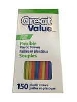 Pailles en plastique souples, fluo Great Value