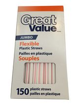 Pailles en plastique souples, jumbo Great Value