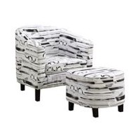 Monarch Specialties Grey, White Accent Ottoman Chair Set