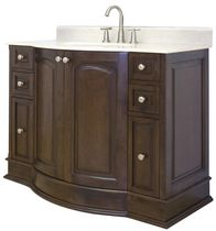 American Imaginations 48 inch width x 22 inch depth Traditional Birch Wood-Veneer Vanity Set In Walnut