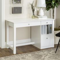 WE Furniture Deluxe White Wood Computer Desk