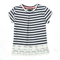 George baby Girls™ Top with Lace Hem Navy 3-6 months
