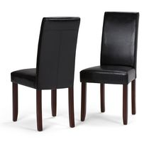 WyndenHall Normandy 2 Pack Parson Dining Chair Midnight Black