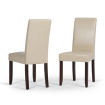 WyndenHall Normandy 2 Pack Parson Dining Chair Satin Cream