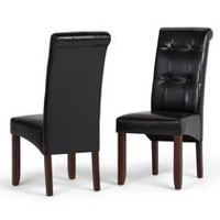WyndenHall Essex 2 Pack Deluxe Tufted Parson Chair Midnight Black